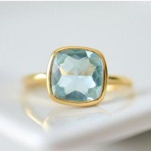 Faceted Blue Topaz Gemstone Vermeil Ring, NWT